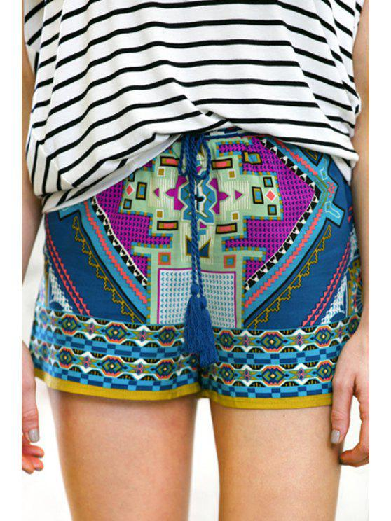 fancy Color Block Abstract Print Shorts - COLORMIX S