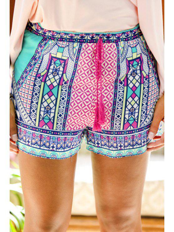 ladies Tie-Up Colorful Print Shorts - COLORMIX S