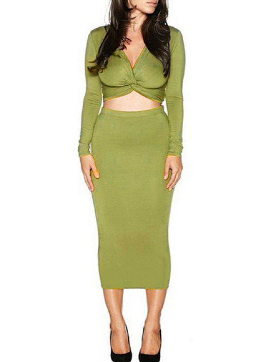 latest Long Sleeve Front Twist Crop Top and Pencil Skirt Suit - GREEN L