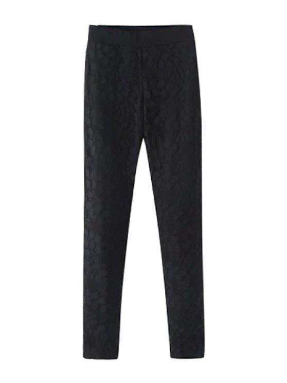 best Lace Spliced Narrow Feet Pants - BLACK S