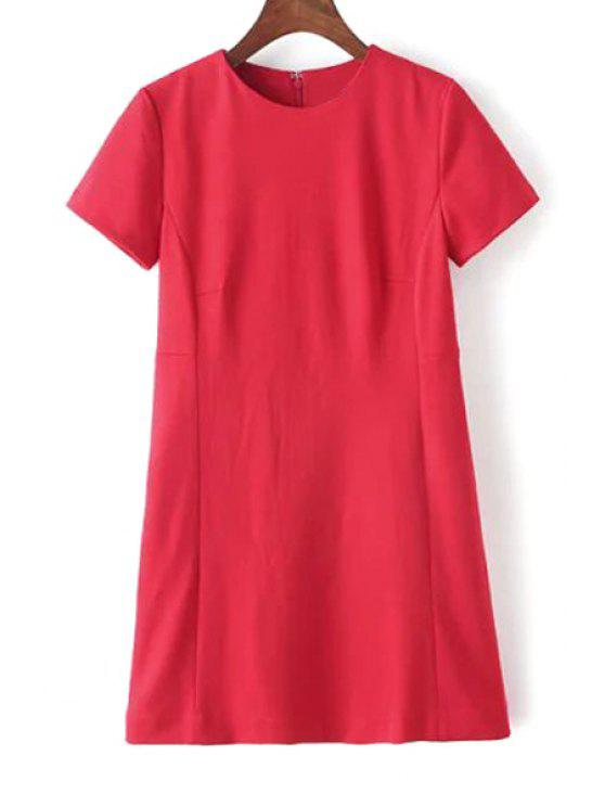 womens Pure Color Round Neck Short Sleeve Dress - RED S