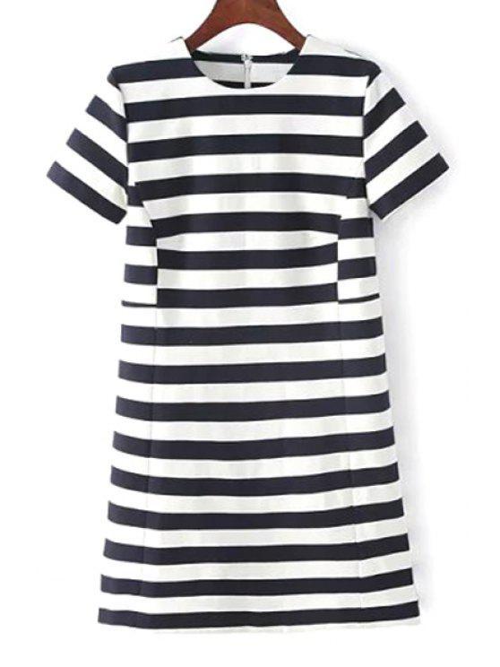 new Stripes Round Neck Short Sleeve Dress - WHITE AND BLACK S