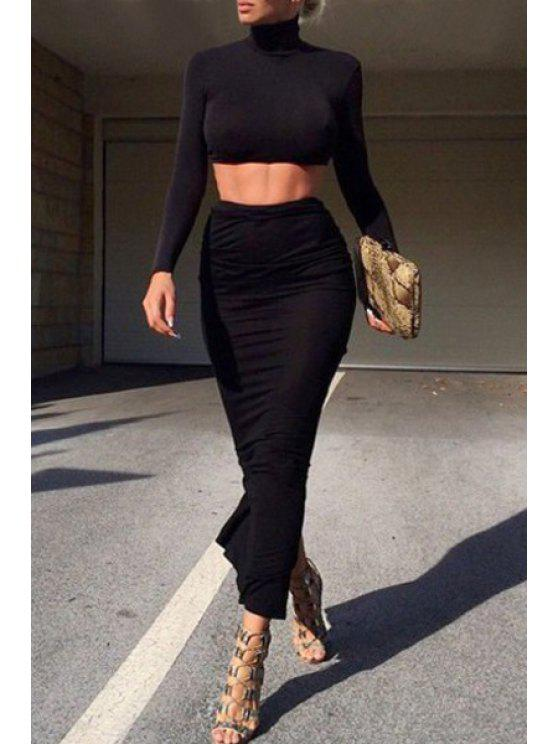 sale Long Sleeve Crop Top + Ruched Pencil Skirt Twinset - BLACK S