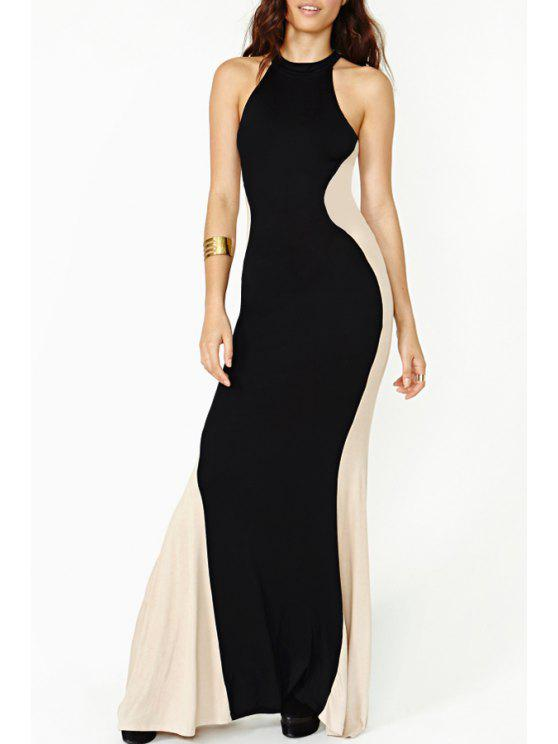 sale Color Block Maxi Fishtail Dress - WHITE AND BLACK S