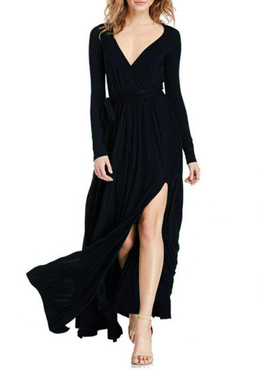 sale Plunging Neck High Slit Maxi Dress - BLACK M