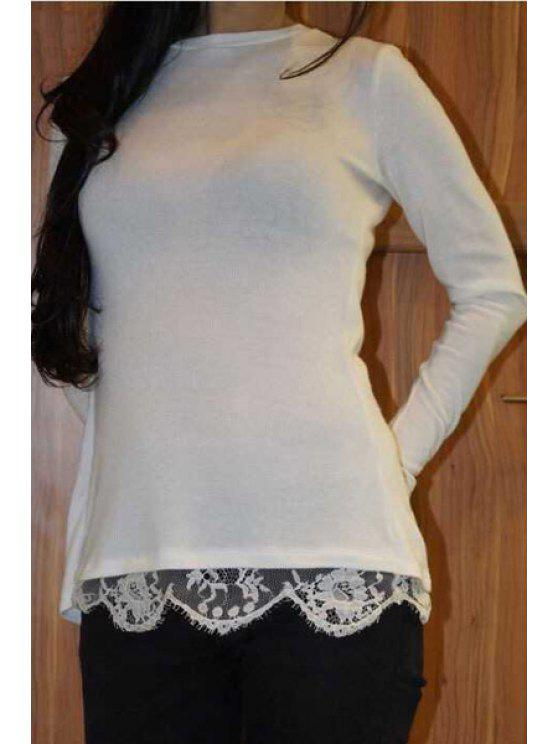 affordable Long Sleeve Lace Spliced White T-Shirt - WHITE S