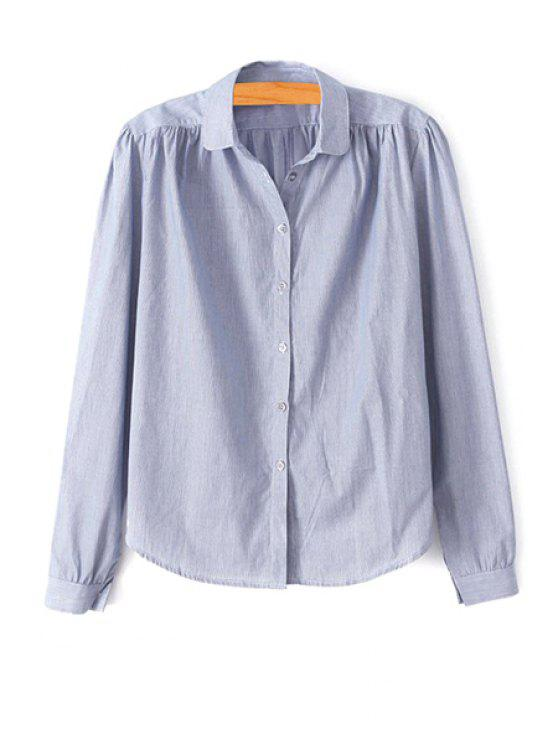 buy Blue Striped Turn Down Collar Shirt - BLUE GRAY S