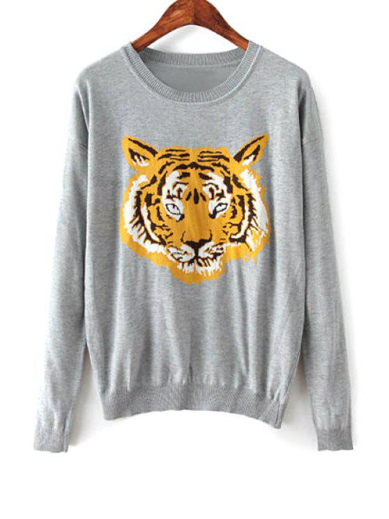 hot Tiger Pattern Long Sleeve Jumper - GRAY S