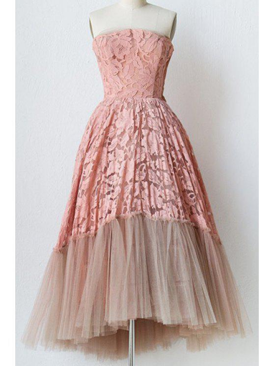 sale Strapless Crochet Voile Prom Dress - PINK L