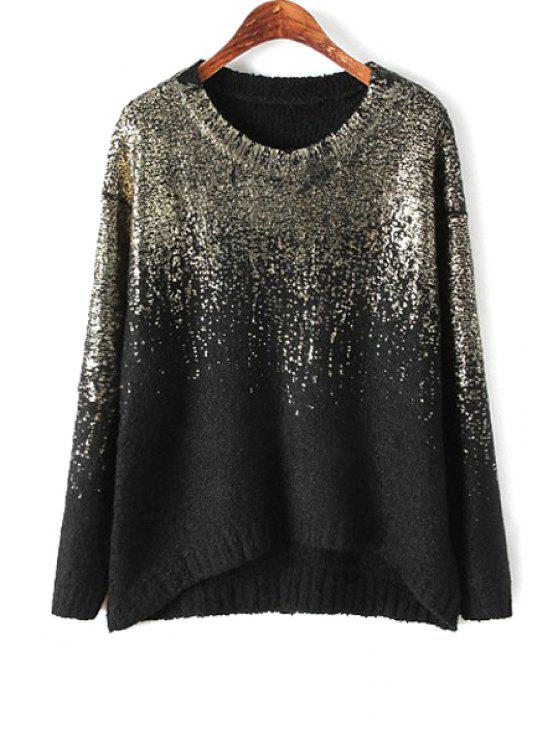 latest Gilding High Low Long Sleeve Sweater - BLACK ONE SIZE(FIT SIZE XS TO M)