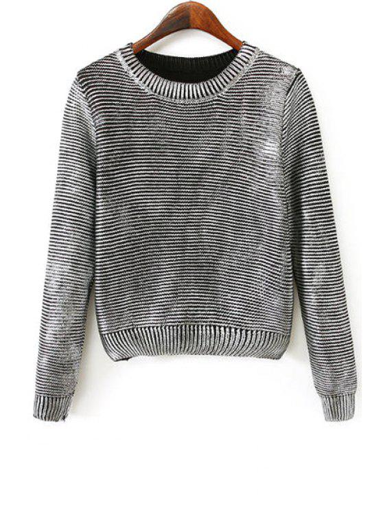 women's Long Sleeve Metal Color Jumper - SILVER ONE SIZE(FIT SIZE XS TO M)