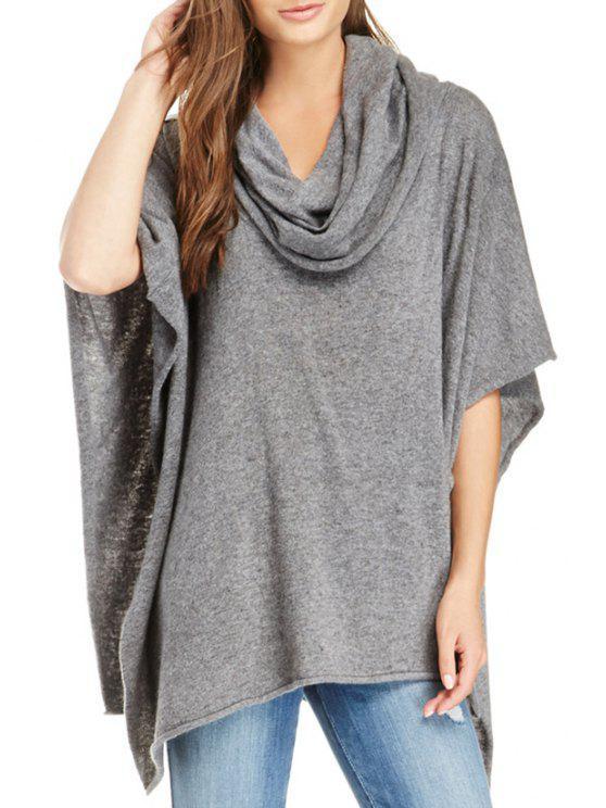 women Heaps Collar Knitted Cape - GRAY L