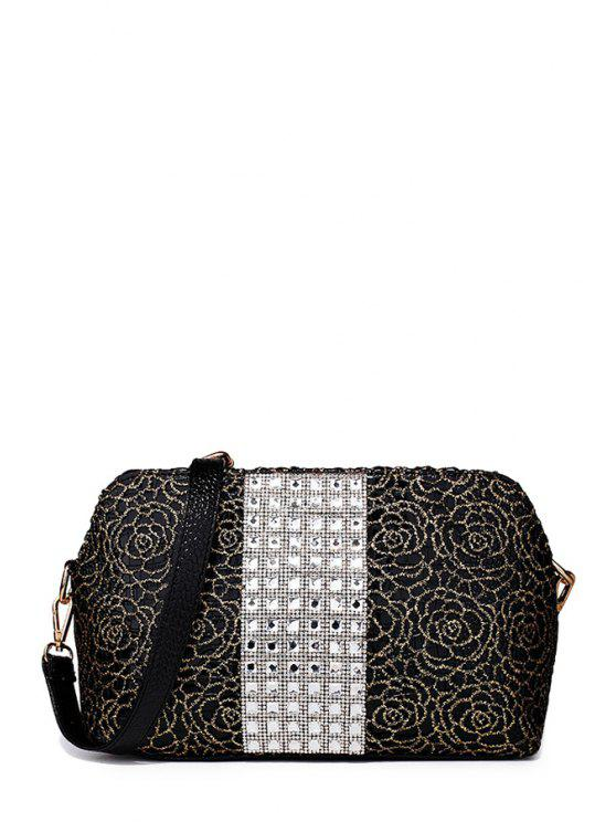 trendy Rhinestones Lace Flowers Shoulder Bag - BLACK