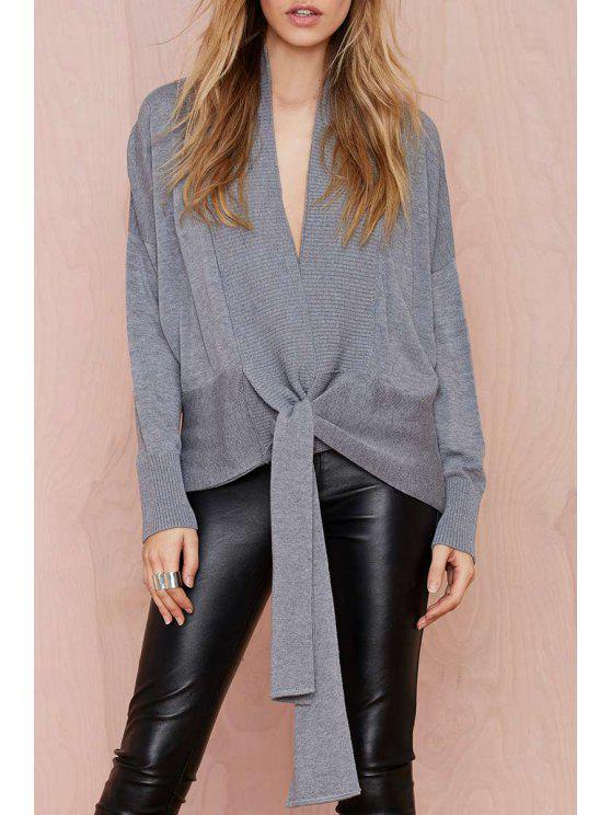 women Plunging Neck Self-Tie Cardigan - GRAY S