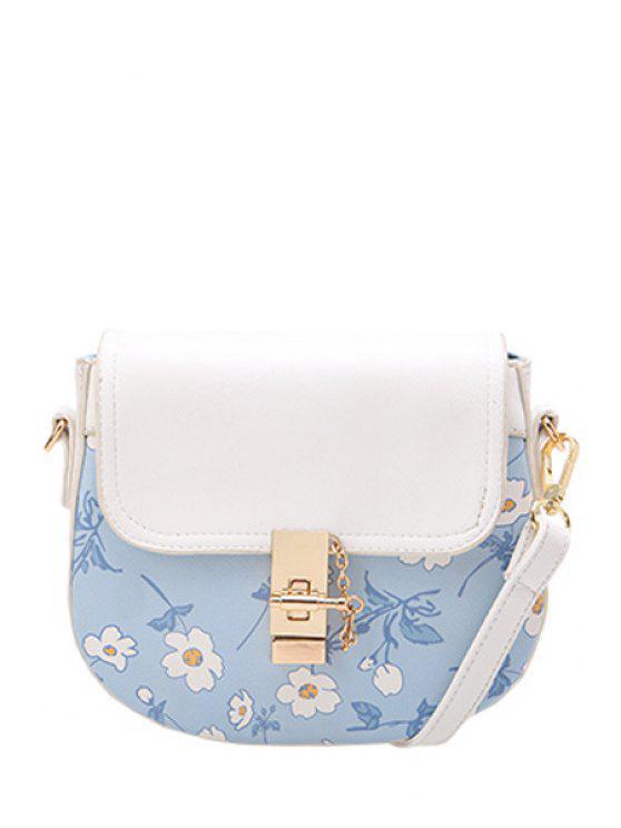 ladies Chains Floral Print Metal Crossbody Bag - LIGHT BLUE