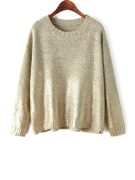 fashion Gilding Solid Color Long Sleeve Sweater - NUDE ONE SIZE(FIT SIZE XS TO M)