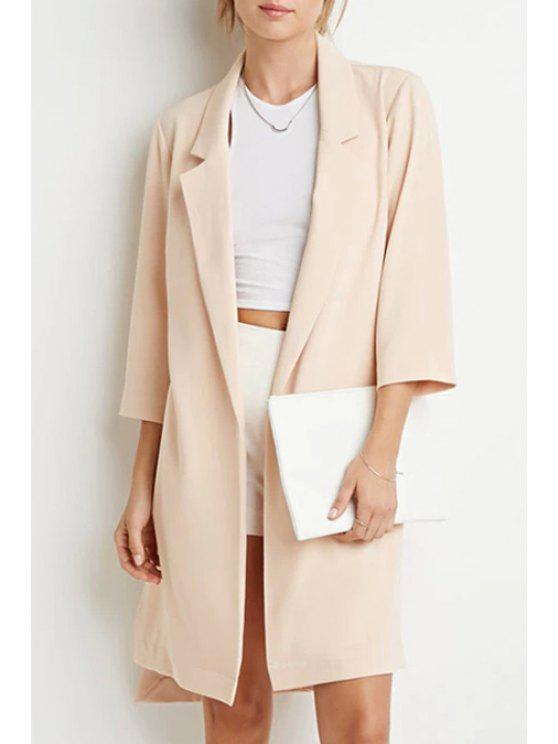 sale Lapel High Low Trench Coat - BEIGE S