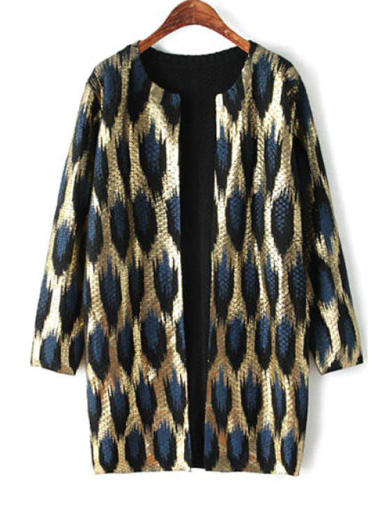 fancy Color Block Gold Stamp Long Sleeve Cardigan - LEOPARD ONE SIZE(FIT SIZE XS TO M)
