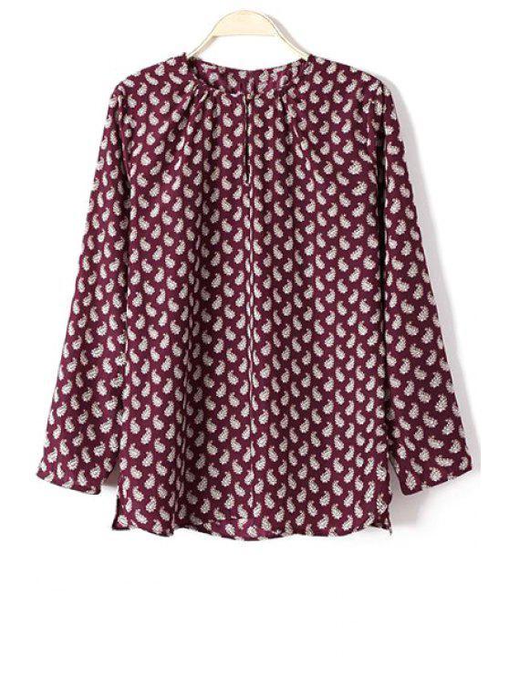 lady Full Paisley Print Long Sleeve Shirt - WINE RED M