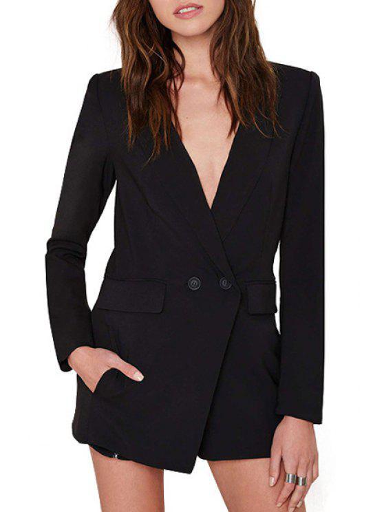ladies Lapel Deep V Neck Long Sleeve Playsuit - BLACK S