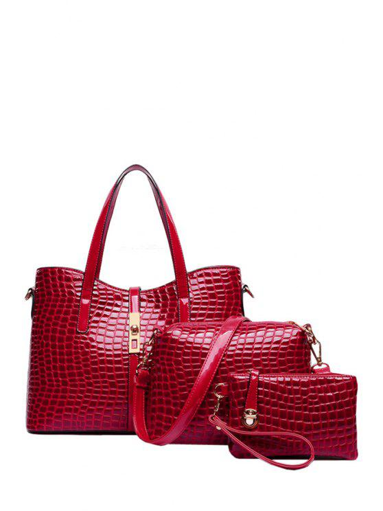 ladies Crocodile Print Rivets Metal Shoulder Bag - RED
