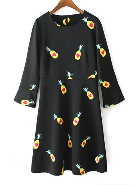 unique Pineapple Print Long Sleeve Dress - BLACK S