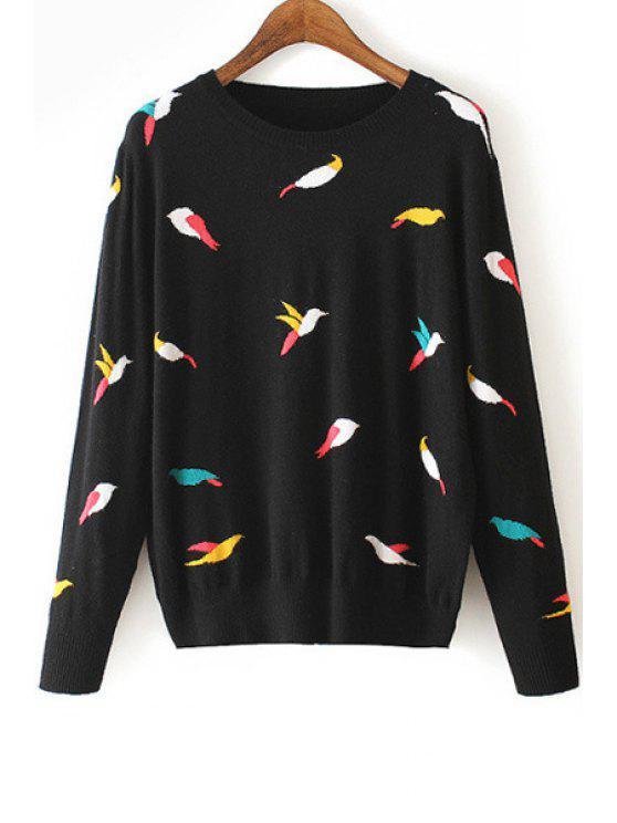 new Full Bird Pattern Long Sleeve Jumper - BLACK M