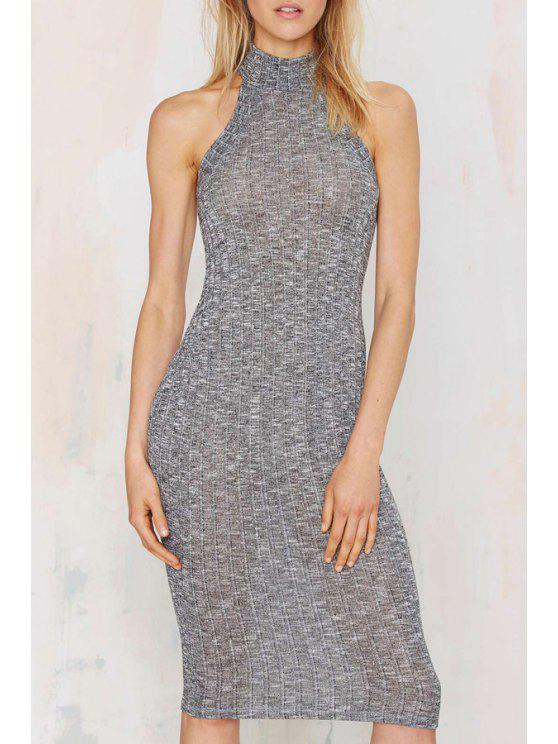 latest Stand Neck Fitted Sweater Dress - GRAY M