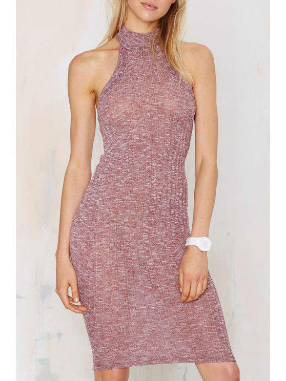 women Stand Neck Fitted Sweater Dress - PURPLE M