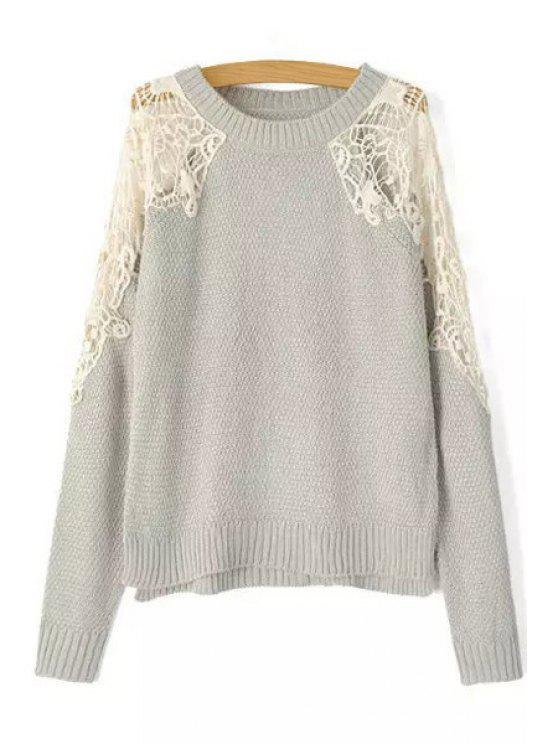 affordable Lace Splicing Long Sleeve Jumper - GRAY S