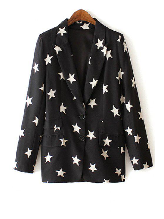 shops Lapel White Star Print Long Sleeve Blazer - BLACK M