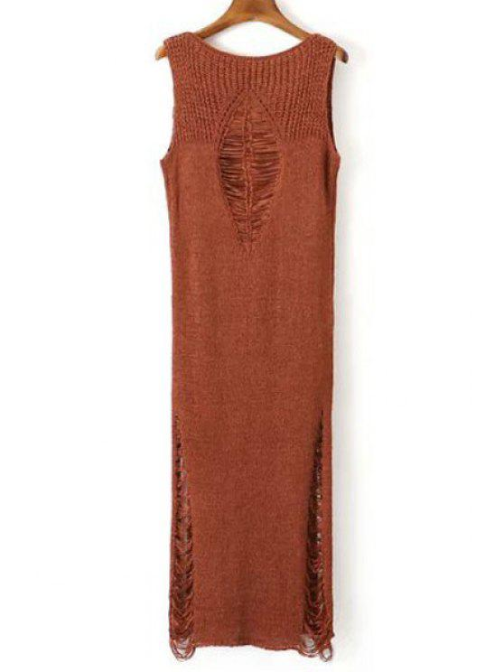 fancy Solid Color Sweater Maxi Sundress - BRICK-RED ONE SIZE(FIT SIZE XS TO M)