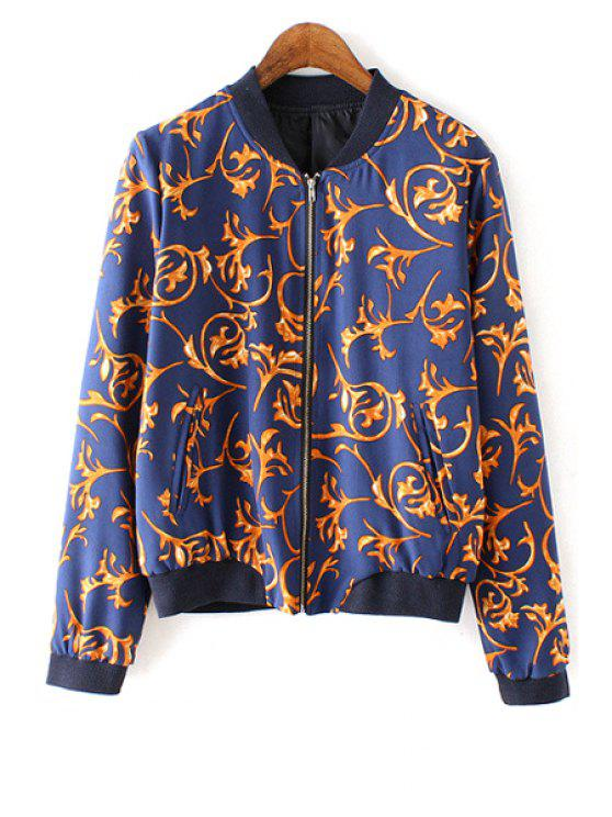 lady Stand-Up Collar Printed Long Sleeve Jacket - BLUE AND YELLOW S