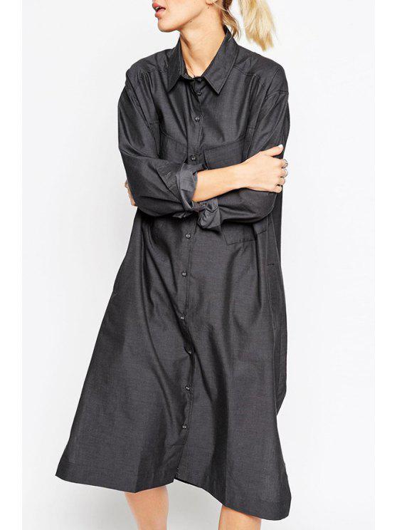 best Long Sleeve Pocket Slit Dress - BLACK S