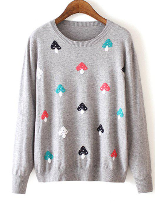 trendy Colorful Mushroom Pattern Long Sleeve Sweater - GRAY M