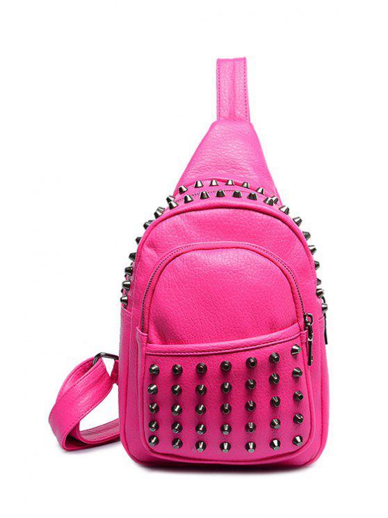 trendy Solid Color Rivets Zipper Satchel - ROSE