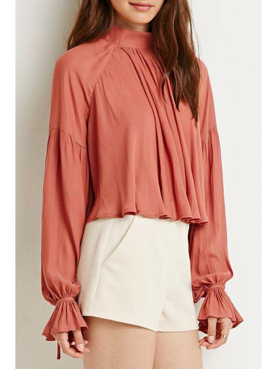 unique Stand Neck Long Sleeve Ruffle Blouse - RED S