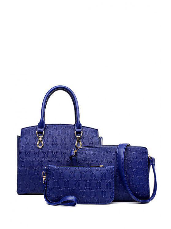 sale Metal Rivets Zipper Tote Bag - BLUE