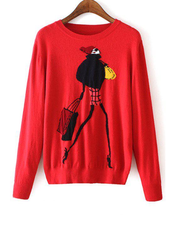 womens Modern Girl Pattern Long Sleeve Sweater - RED M