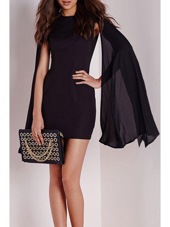 online Long Split Sleeve Black Bodycon Dress - BLACK S