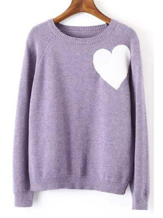 trendy Heart Pattern Long Sleeve Pullover Sweater - PURPLE ONE SIZE(FIT SIZE XS TO M)