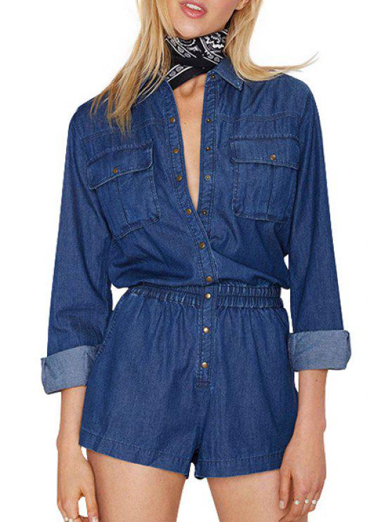trendy Long Sleeve Single-Breasted Pocket Playsuit - BLUE M