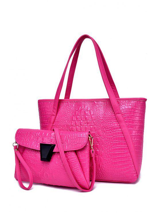 outfits Crocodile Print Zipper Solid Color Shoulder Bag - ROSE
