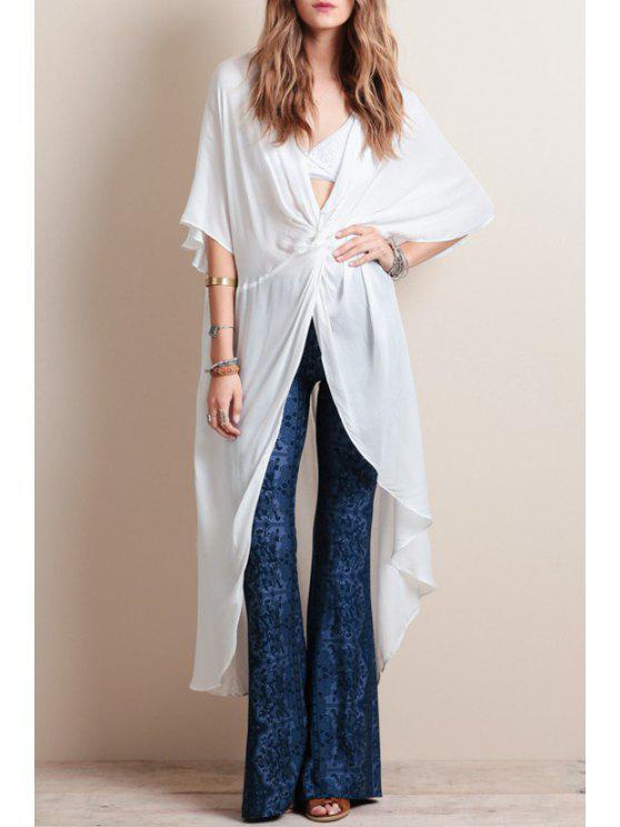 ladies Front Twist White Long Dovetail Blouse - WHITE S