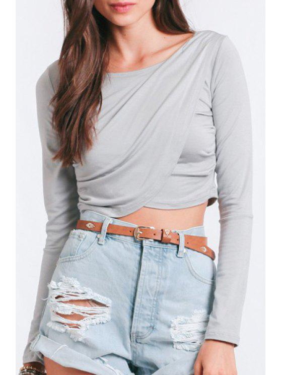 online Long Sleeve Cross Gray Crop Top - GRAY S