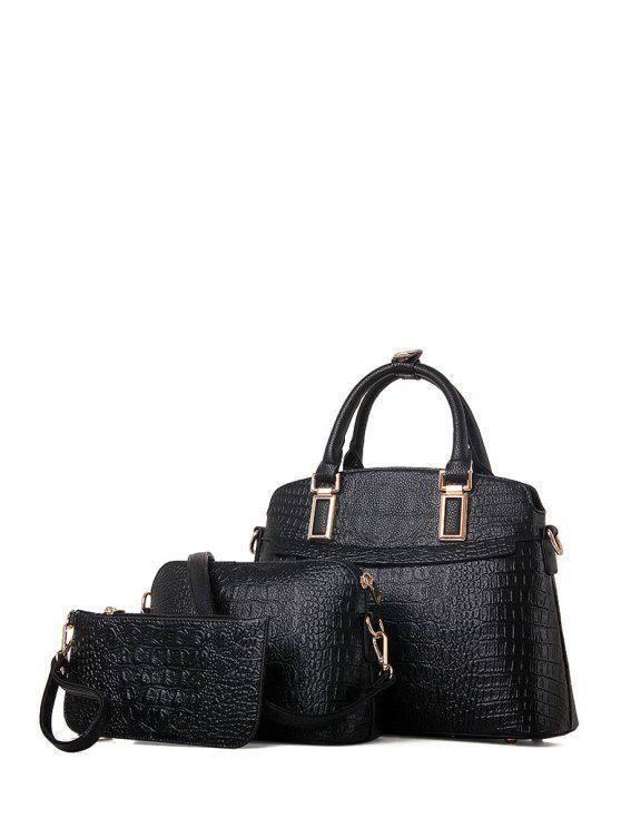 Solid Color Crocodile Print Metal Tote Bag BLACK Bags