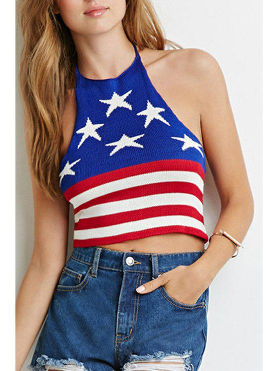 women Halter American Flag Knitted Crop Top - BLUE AND RED S