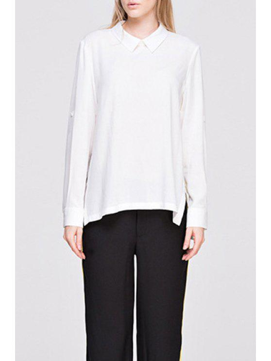 870f64d982fb 28% OFF  2019 Long Sleeve Side Slit White Convertible Shirt In WHITE ...