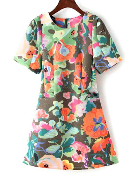 best Jewel Neck Colorful Printed Short Sleeve Dress - COLORMIX S