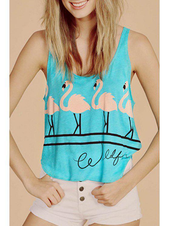 shop Flamingo Print Loose Tank Top - BLUE S